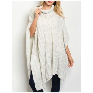 SPECKLED IVORY CABLE KNIT COWL PONCHO